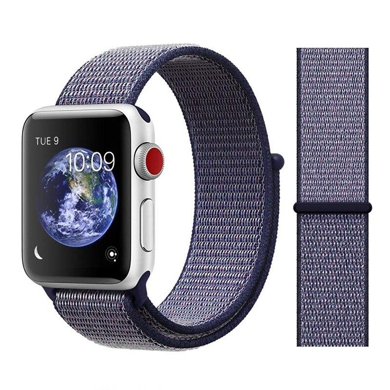 Для наручных часов Apple Watch, версии 3/2/1 38 мм 42 мм нейлон мягкий дышащий нейлон для наручных часов iWatch, сменный ремешок спортивный бесшовный series4/5 40 мм 44 мм - Цвет ремешка: Color1 midnight blue