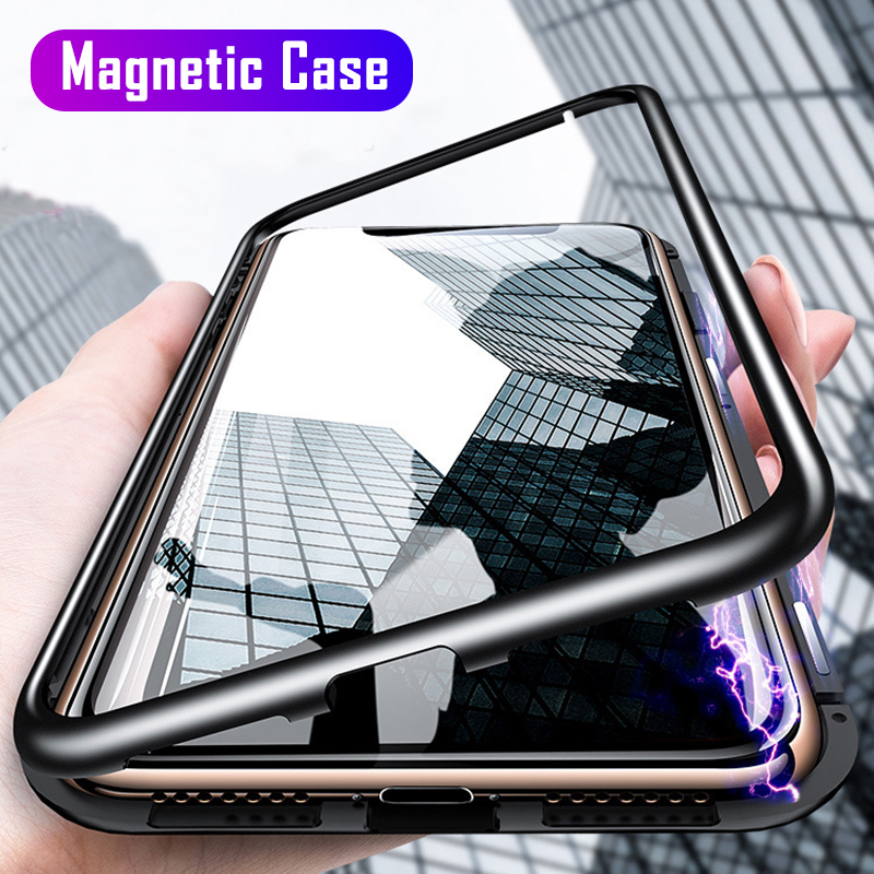 Magnetic Adsorption Metal Case For Samsung Galaxy Note 10 S10 S8 S9 S7 Edge Note 8 9 A50 A30 M10 M20 A7 A8 J4 J6 Plus 2018 Cover