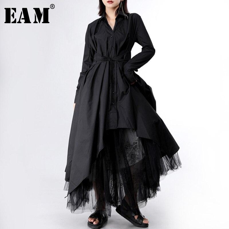 [EAM] 2021 New Spring Autumn Lapel Long Sleeve Button Bandage Stitch Pleated Irregular Shirt Dress Women Fashion Tide JY778