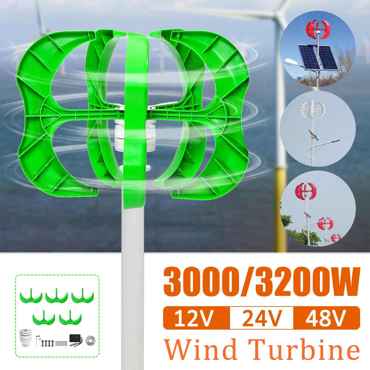 3200 W/3000 W Gerador de Energia Eólica Lâminas gerador 5 12/24/48V Lanterna de turbinas de vento Vertical streetlight + Controlador de eixo Para Uso Doméstico