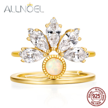 ALLNOEL 9K Gold Plated 5A Zircon Diamond Opal Gemstone 925 Sterling Silver Creative DIY Stackable Rings Bridal Set For Women
