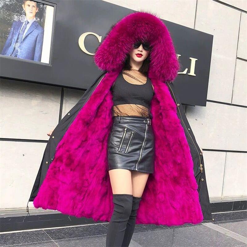 大型リアル毛皮の襟暖かい上着 2019 新冬暖かい裏地ダウンコートの女性の冬フード付き厚みの女性ロングジャケット  グループ上の レディース衣服 からの ベーシックジャケット の中 1