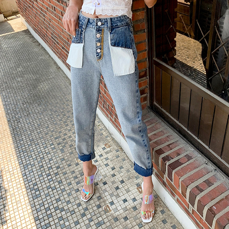 Front Buttons High Waist Denim Jeans Women 2019 Autumn Big Pockets Splice Jeans Pants Female Straight Hit Color Denim Trousers