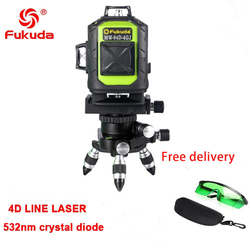 Фукуда бренд 12 линии 3D MW-93T-3GX лазерный уровень наливные 360 горизонтальный и вертикальный крест супер мощный зеленый лазер луч линии - Цвет: 4GJ  532nm green  1