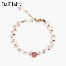 BaliJelry modna bransoletka srebrna biżuteria naturalna perła słodkowodna kryształowe bransoletki z kamieniami szlachetnymi akcesoria dla kobiet prezent ślubny