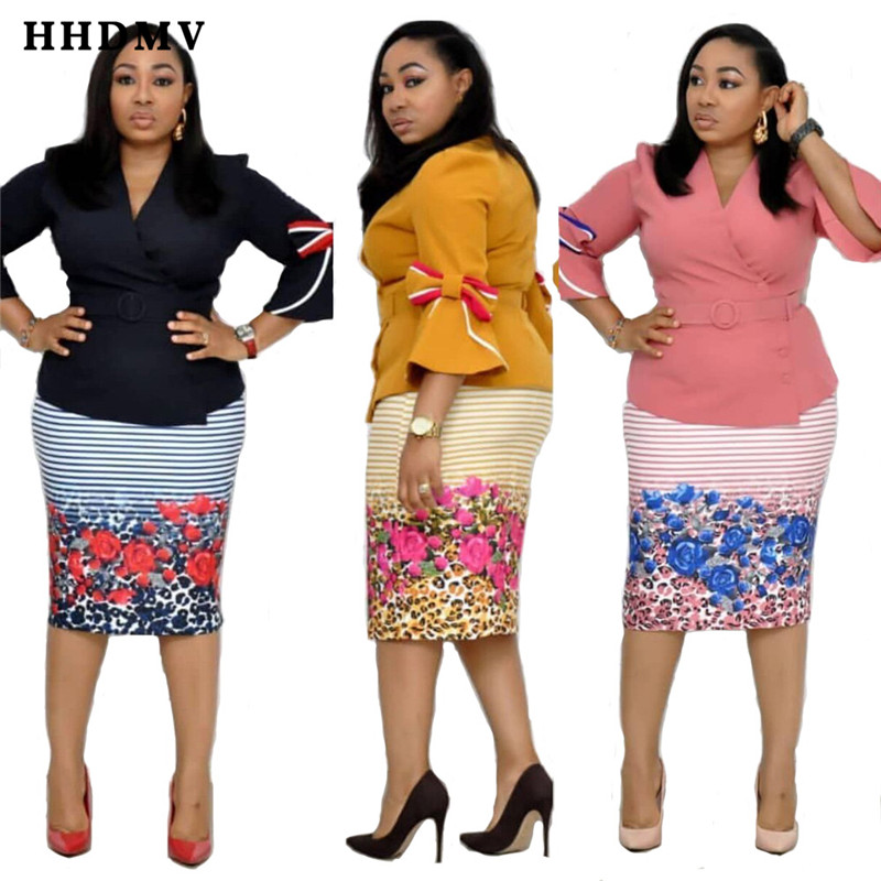 HHDMV YWQS371 formal elegant high s style sets seven point sleeve v collar top elastic knee-length skirt printed two piece sets