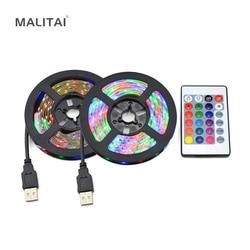 Светодиодная лента, USB, 5 в пост. Тока, 2835, RGB, для украшения праздника, USB, Светодиодная лента, ТВ, компьютерная тыловая подсветка, 1 м, 2 м, 3 м, 4 м