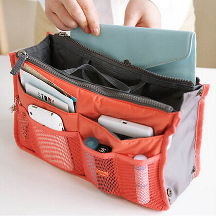 New Cosmetic bag Organizer Bag in Double Zipper Makeup Portable Multifunctional Travel Pockets Handbag