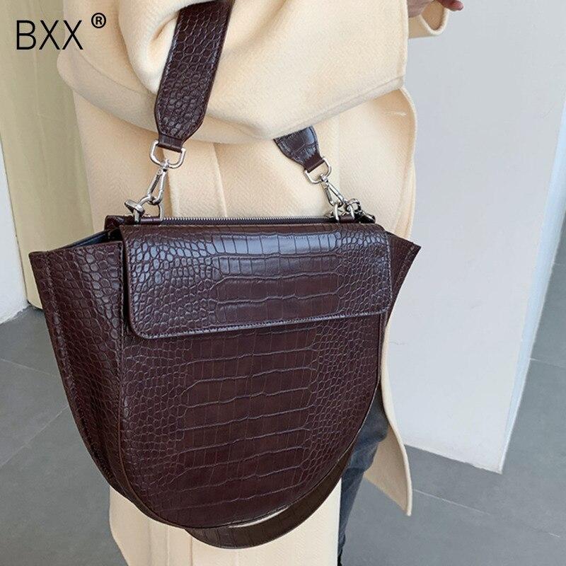 [BXX] Crocodile Pattern PU Leather Crossbody Bags For Women 2020 High Capacity Shoulder Messenger Bag Female Handbags HL136