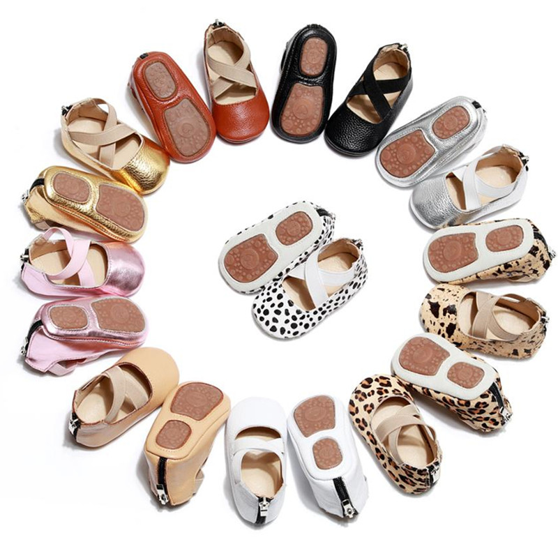 Toddler Infant Hard Sole  Baby Shoes Newborn Baby Girls Spring Autumn Genuine Leather Shoes Ballet Leopard First Walkers 0-24M