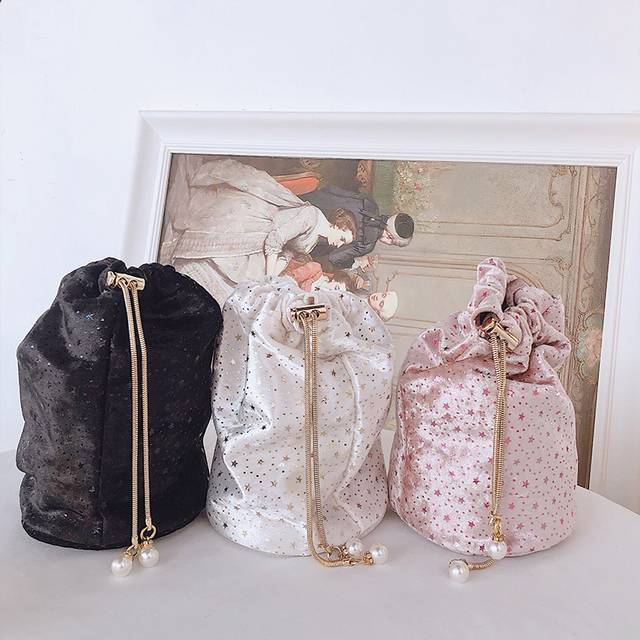 Luxury Diamond Metal Bucket Pearl Handle Chain Shoulder Bag 3