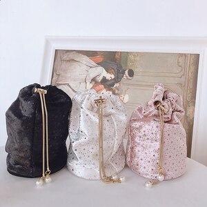 Image 3 - Sac à main de luxe pour femmes, seau en métal avec diamants, poignée de perles, sac de fête avec chaîne bandoulière