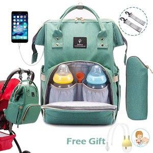 Image 1 - Bebek bezi çantası sırt çantası USB portu bebek çantası büyük bebek çantası anne için kanca ile bebek bezi değiştirme analık çanta Bebe organizatör çantası