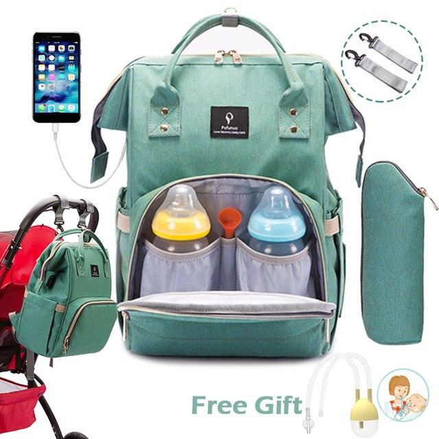 Bebek bezi çantası sırt çantası USB portu bebek çantası büyük bebek çantası anne için kanca ile bebek bezi değiştirme analık çanta Bebe organizatör çantası