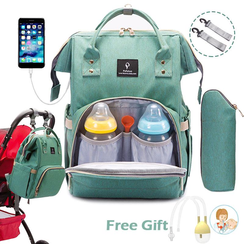Diaper Bag Backpack USB Port Stroller Bag Large Baby Bag for Mommy with Hooks Baby Changing Maternity Bags Bebe organizer Bag