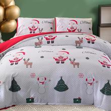 3Pcs Merry Christmas Bedding Set Cartoon Santa Claus Christmas Gifts Duvet Cover Double Queen King Size Quilt Covers Pillowcase