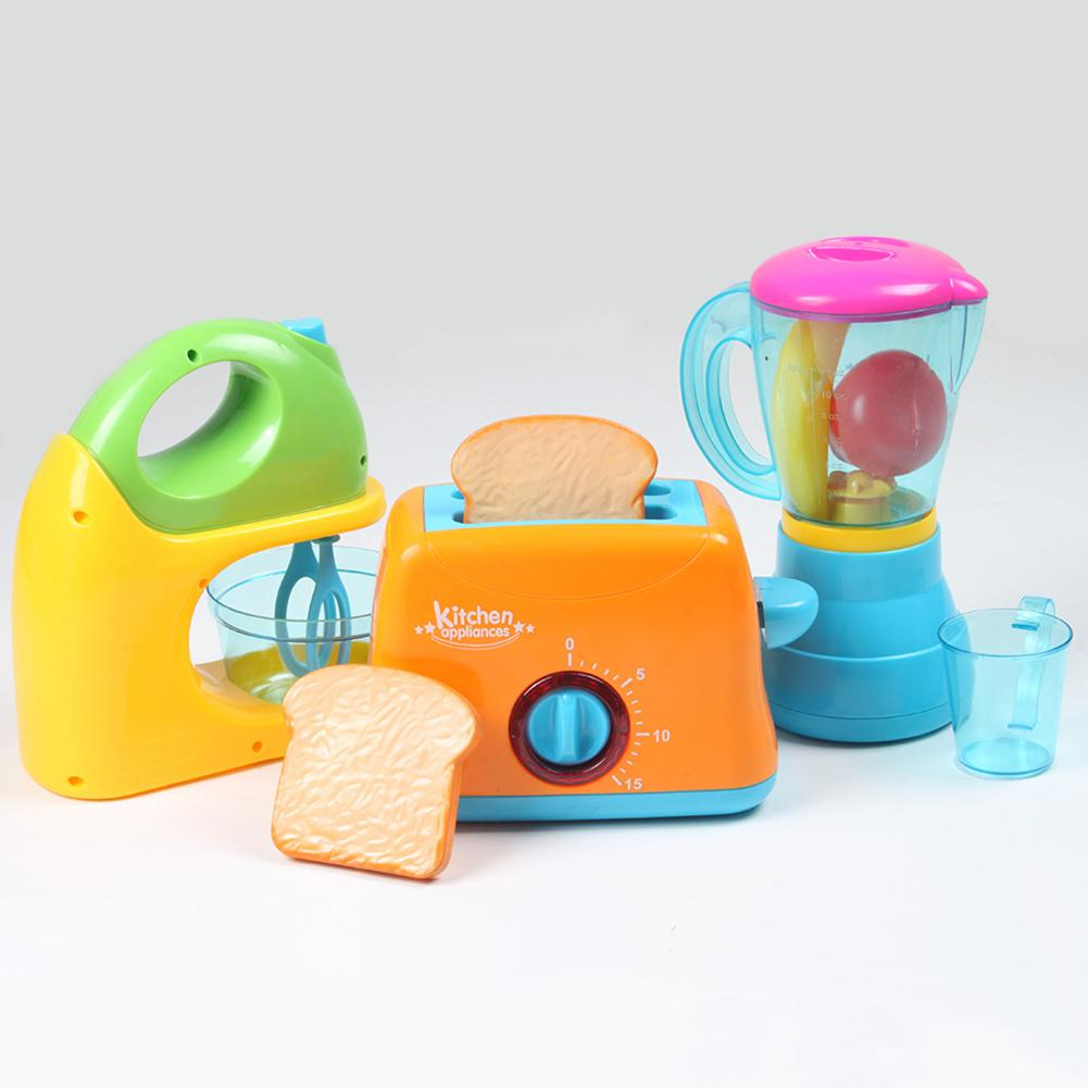 Kids Pretend Play Toy Simulation Kitchen Appliances Blender Toaster Mixer with LED Pretend Play Toys For Kids Gift