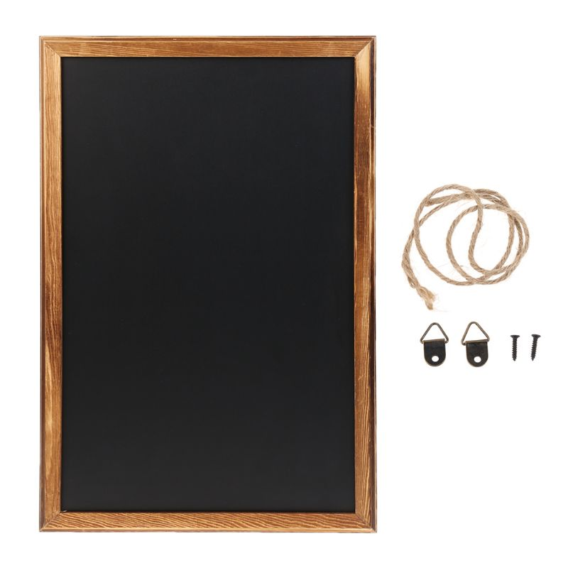 Rectangle Hanging Wooden Message Blackboard Chalkboard Wordpad Sign Kids Board For Restaurant, Bar, Office, Home