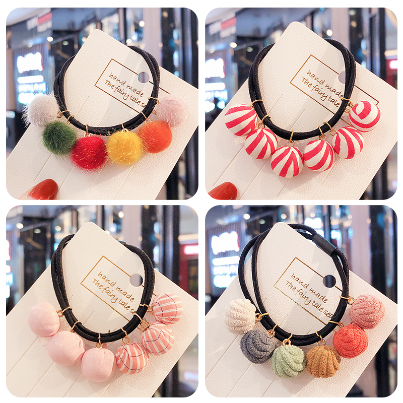 New Children Cute Candy Mix Hairball Elastic Hair Bands Girls Ponytail Holder Srunchies Rubber Bands Kid Lovely Hair Accessories