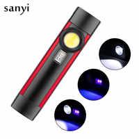 Mini linterna ultravioleta portátil, luz de trabajo magnética COB, 395nm, con batería recargable 18650, USB