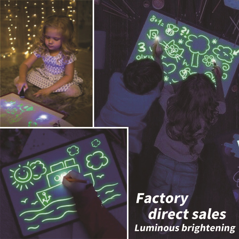 Draw With Light Fun Fluorescent Painting Board Children Magic Writing Board Luminous Board 3D Educational Toy Learnings Painting