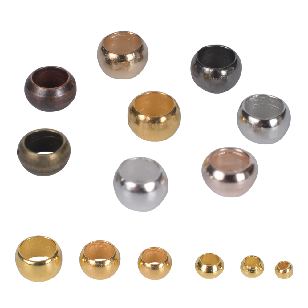 500Pcs/Lot Bracelet Diy Ball Crimp End Beads Accessories Stopper Spacer Beads For Jewelry Making Supplies()