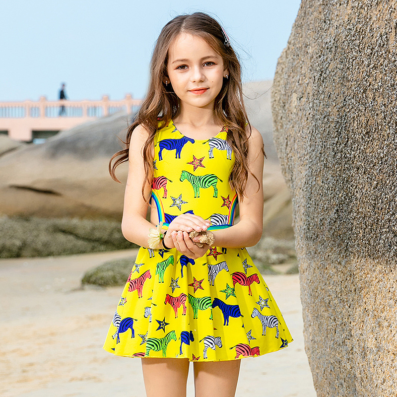 2019 New Style Hot Sales KID'S Swimwear Colorful Stripes Horse Dress-Hipster Big Boy GIRL'S Swimsuit