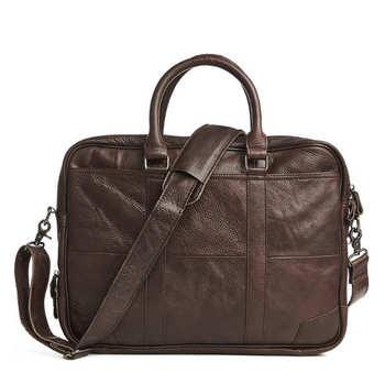 Męskie torebki biznesowe na co dzień z prawdziwej skóry teczki męskie na 14 lub 15 6 cali laptop Messenger torby teczki tanie i dobre opinie Skóra bydlęca CN (pochodzenie) Pojedyncze Wnętrze slot kieszeń Kieszeń na telefon komórkowy Wewnętrzna kieszeń Miękki uchwyt