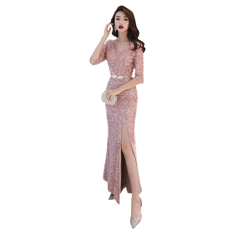 Evening Dress Split Backless Sequin Women Party Dresses Half-sleeve Zipper Robe De Soiree Short Sleeve Formal Gowns 2019 F057