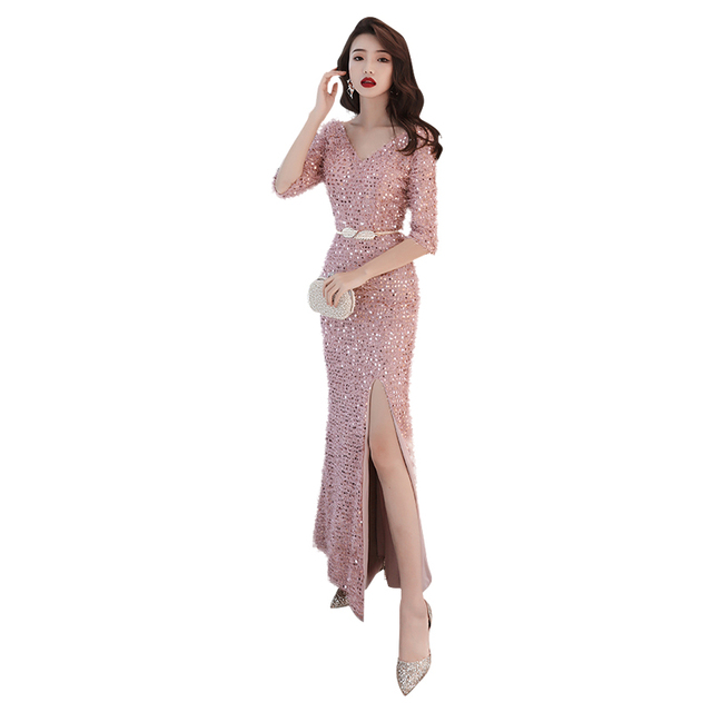 Evening Dress Split Backless Sequin Women Party Dresses Half-sleeve Zipper Robe De Soiree Short Sleeve Formal Gowns F057