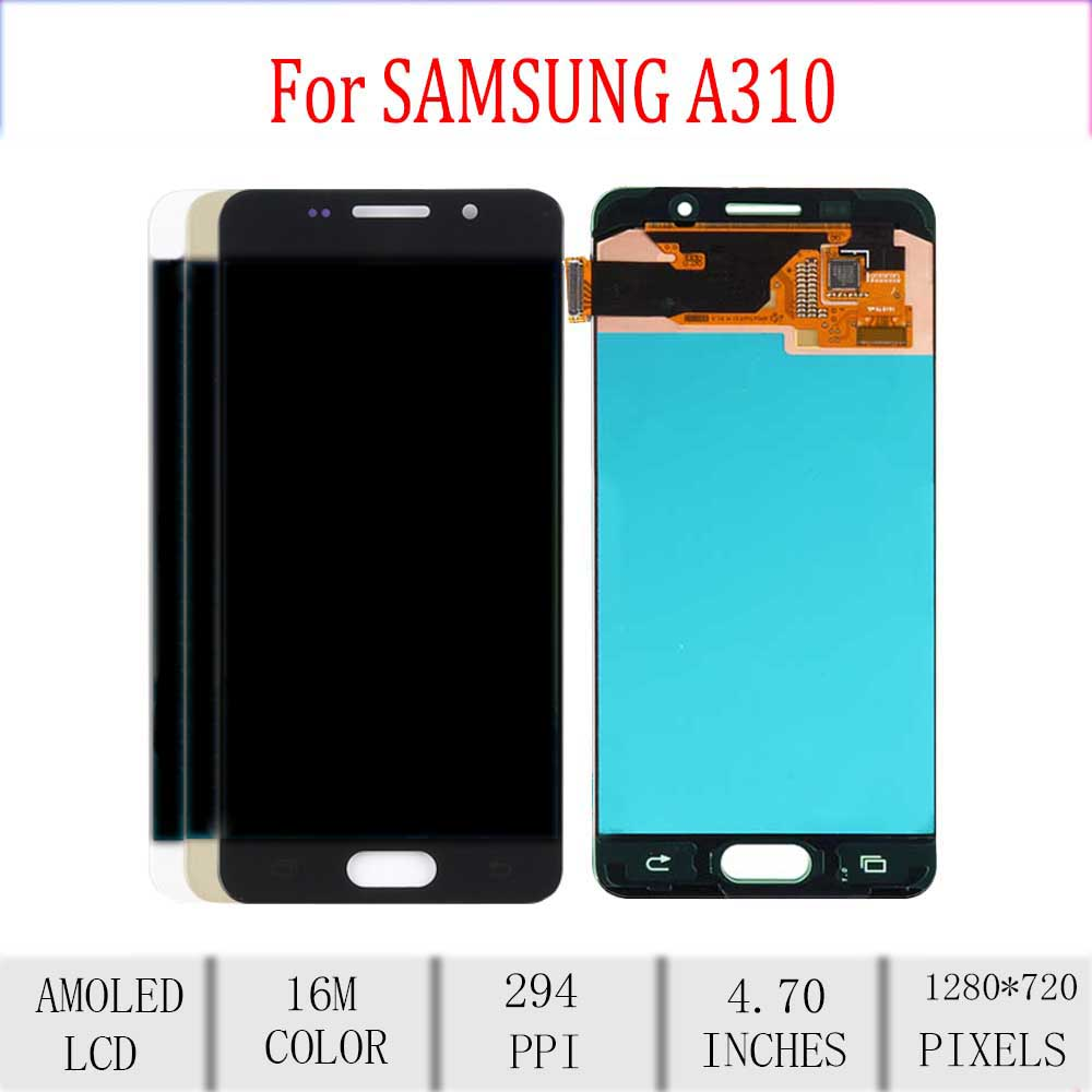 <font><b>Amoled</b></font> For <font><b>SAMSUNG</b></font> <font><b>A310</b></font> <font><b>LCD</b></font> Display Touch Screen Digitizer Assembly For <font><b>Samsung</b></font> Galaxy A3 2016 Display Replacement A310F A310M image