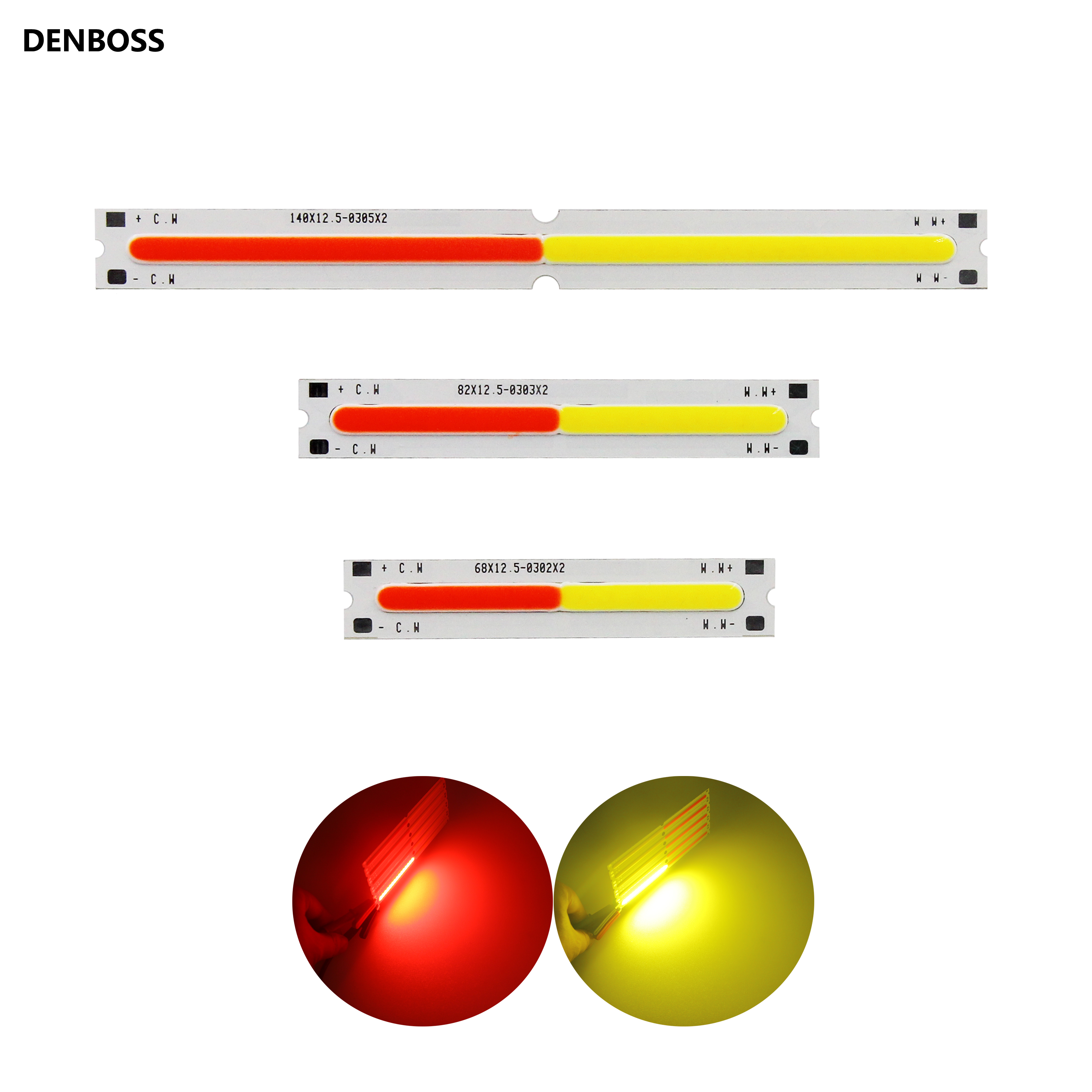 New Bar Shape 9V Double Color LED COB Strip For Work Light Bicycle Diy Lighting Red Yellow Led Cob Chip Light Source