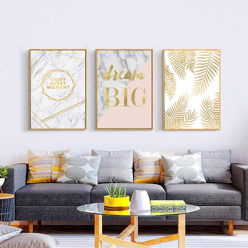 Poster Nordic Gold Yellow Flamingo Leaf Marble Canvas Print Wall Art Posters And Prints Wall Pictures For Living Room Unframed