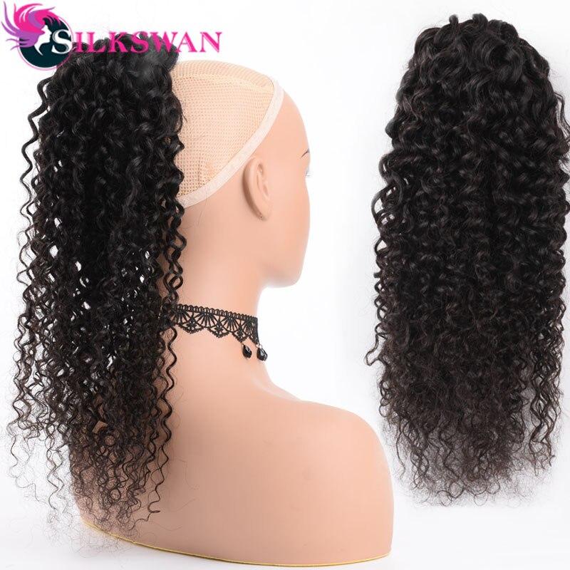 Clip de vague profonde de cheveux de remy humain de cheveux de soie dans des prolongements de queue de cheval cordon réglable de couleur naturelle pour la femme noire
