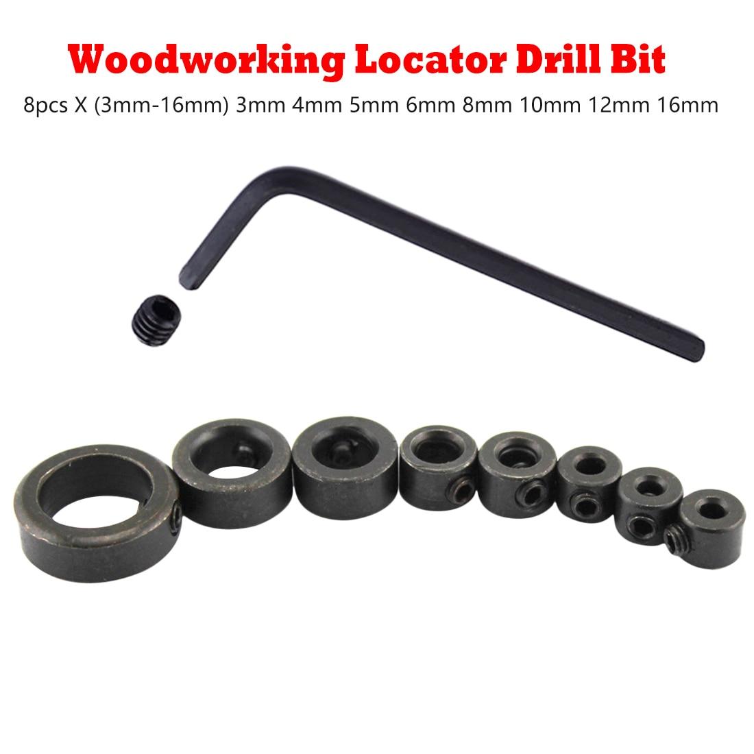 Locator Wood Drill Bit 8pcs 3-16mm Woodworking Drill Locator Drill Bit Depth Stop Collars Ring Positioner Drill