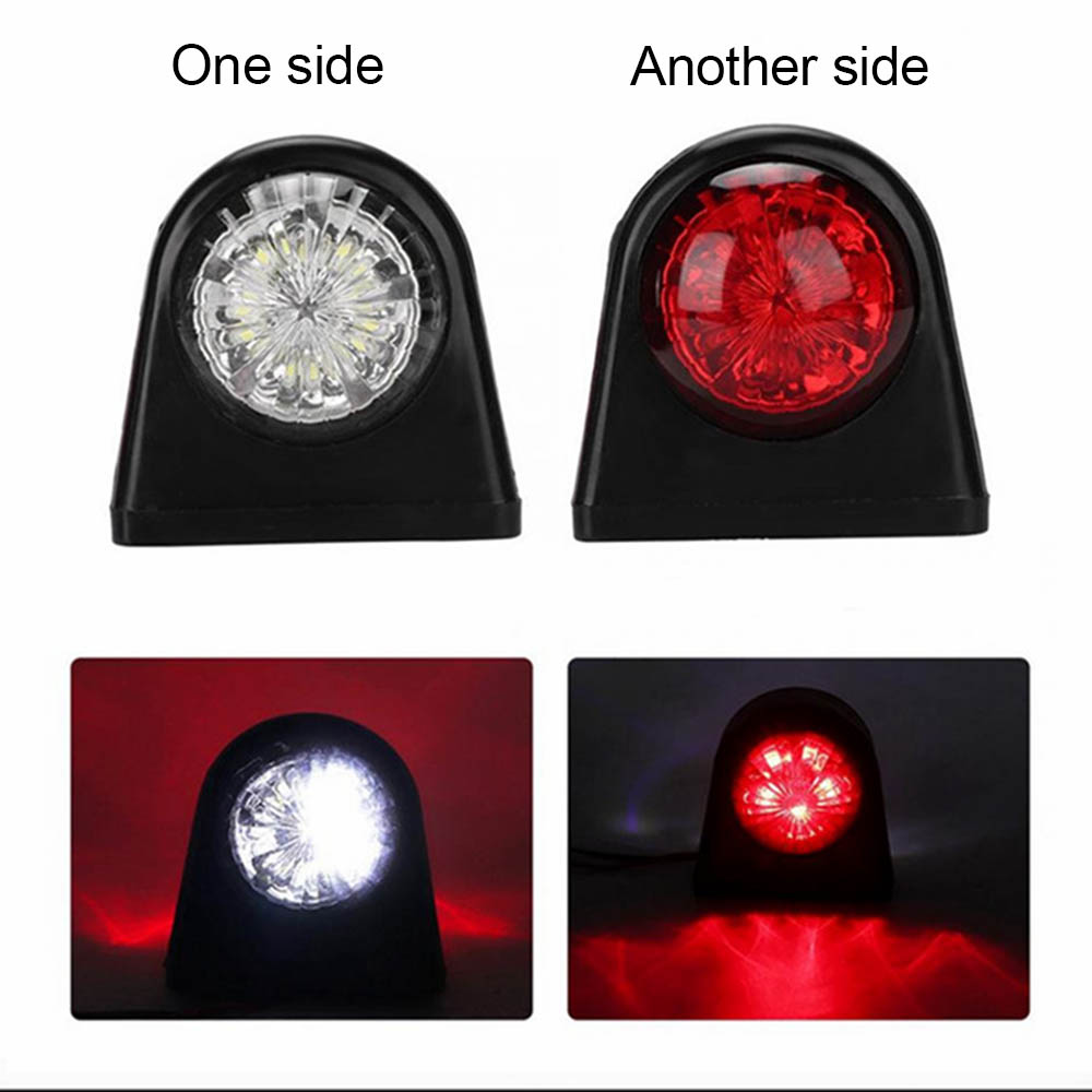 10-30V Car Truck LED Side Marker Light Rubber Plastic Double Side Indicator Lamps Red White for Trailer Lorry Van image