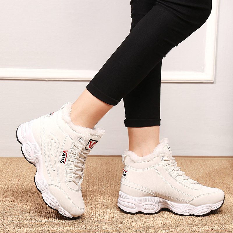 Image 4 - SWONCO  Women Winter Shoes Velvet Fur Platform Sneakers Black/white 2019 New High Top Female Casual Shoes Cotton Padded SnowWomens Vulcanize Shoes   -