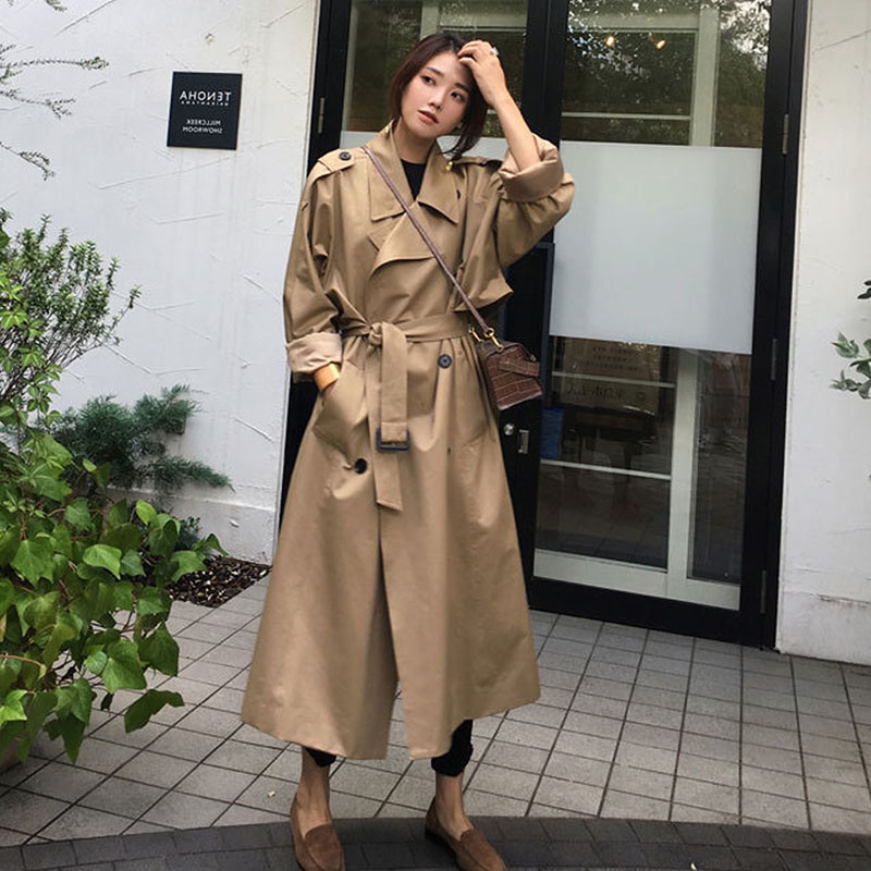 Casual Long Trench Coat Women Sashes 2020 Plus Size Spring Double Breasted Elegant Khaki Loose Windbreaker Female Outwear Autumn