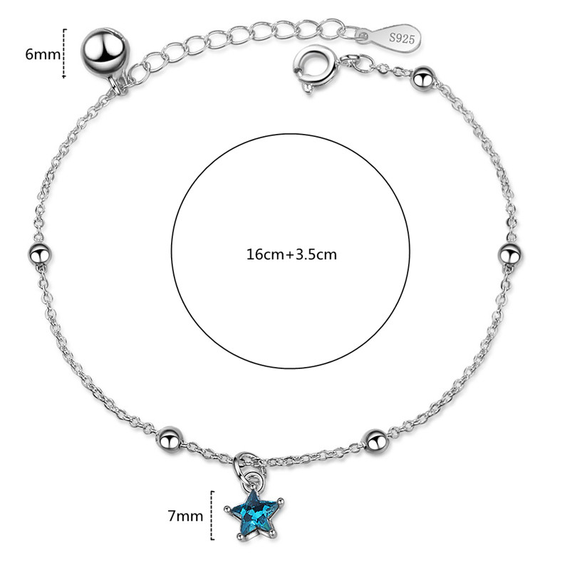 Fashion Adjustable Bracelets Women Blue Pentagram and Bead Bracelet for 925 Sterling Silver Jewelry