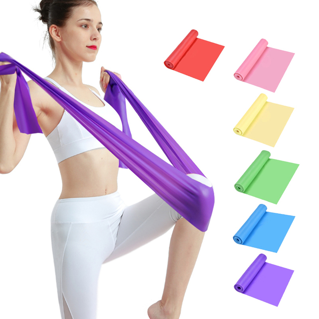 Yoga Pilates Stretch Resistance Band Exercise Fitness Band Training Elastic Exercise Fitness Rubber 150cm natural rubber Gym 4
