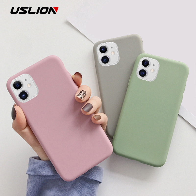 Iphone Xs Case | USLION Candy Color Phone Case For IPhone XS 11 Pro Max XR XS Max X Plain Silicone Cover For IPhone 6 6S 7 8 Plus Soft TPU Case
