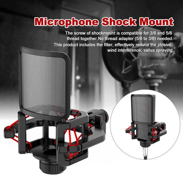 Professional Anti Vibration Shock Mount For Microphones With Filter Screen With blowout guard