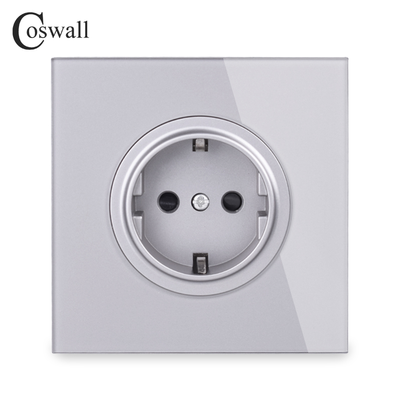 Coswall Crystal Glass Panel 16A EU Standard Wall Power Socket Outlet Grounded With Child Protective Lock Grey Gray R11 Series