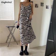 Женские летние платья на бретелях-спагетти с V-образным вырезом, размеры до 3XL, с принтом зебры, с разрезом, женское сексуальное длинное плать...