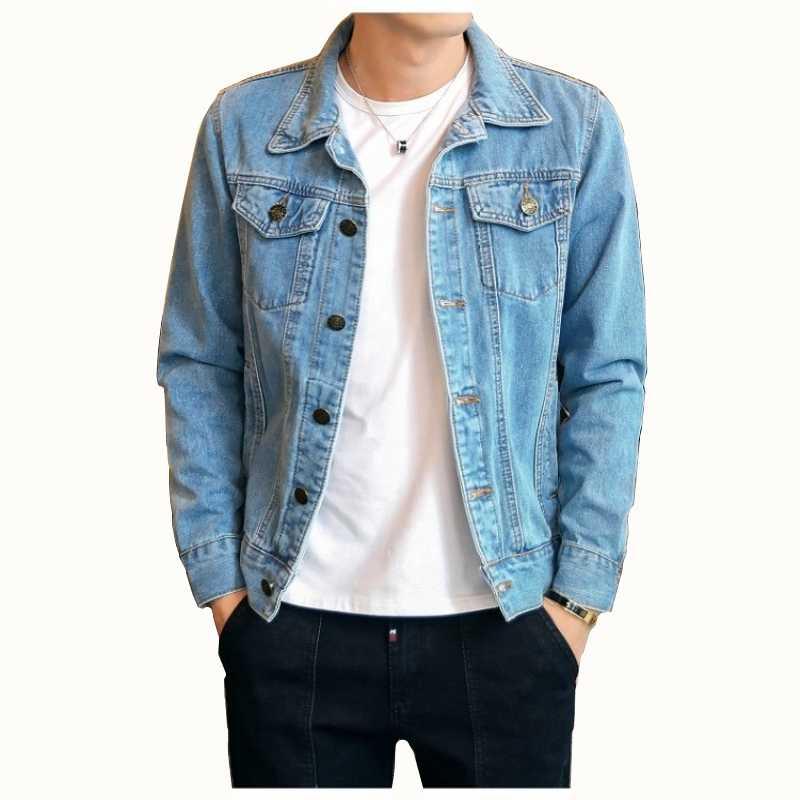 Düz renk rahat İnce erkek kot ceket büyük boy 4XL bombacı ceket erkek yüksek kaliteli sokak giyim ince erkek kot ceket