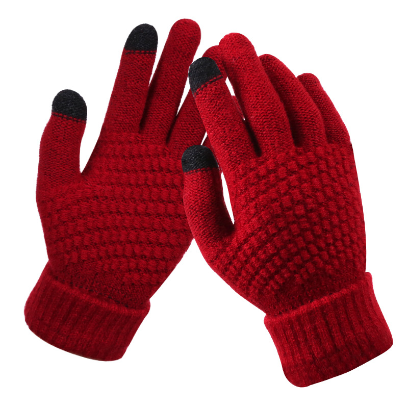 2020 NEW Women's Cashmere wool Knitted Gloves Winter Warm thick touch screen gloves Solid Mittens for Mobile Phone Tablet Pad