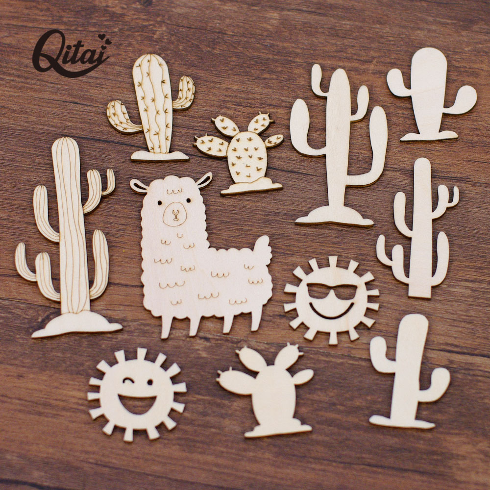 QITAI 22PCS/BOX  Wooden Cactus/alpaca/Smiling Face DIY Scrapbooking Craft Decoration Ornamentation Gift Home Decorative WF321
