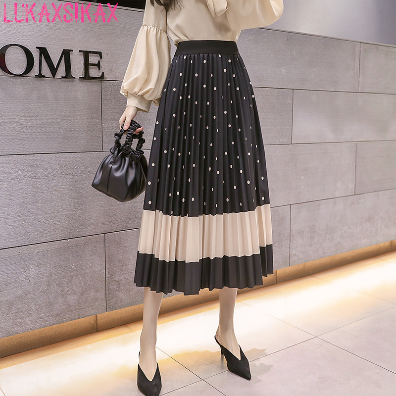 LUKAXSIKAX 2020 New Spring Autumn Women Skirt Fashion Plaids Print Pleated Skirt Elastic High Waist Slim Long Skirt