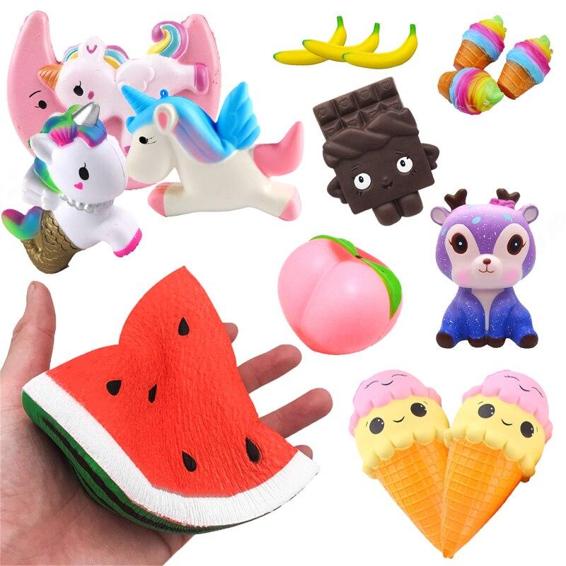 Kawaii super doux bricolage Antistress jouets spongieux simulé série de fruits lente augmentation soulagement du Stress jouet drôle pour adultes bébé noël