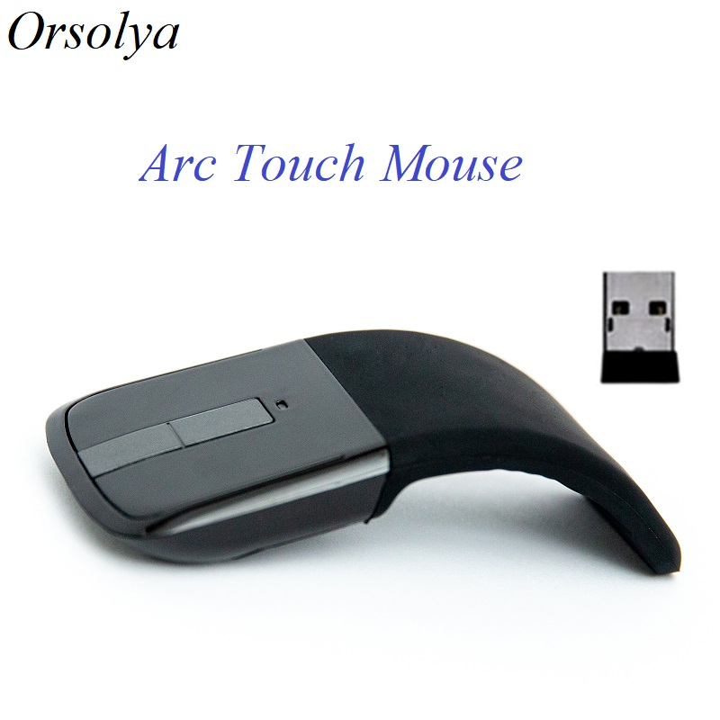 Foldable Wireless Computer Mouse Arc Touch Mice Slim Optical Gaming Folding Mause With USB Receiver For Computer PC Laptop